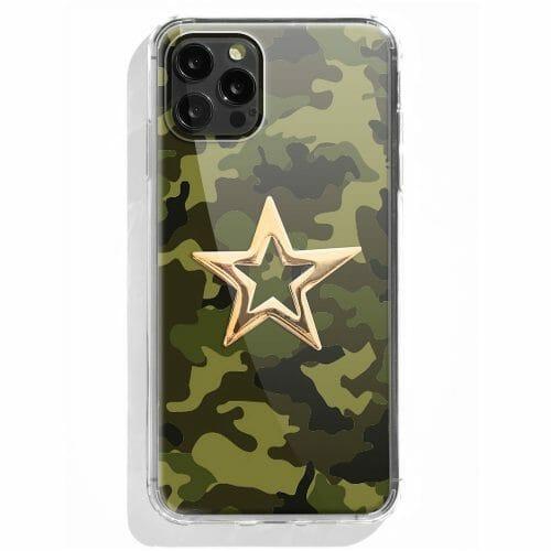 TINKALINK iPhone 12 Pro case Talisman Green Camo Skin Large Star Charm Gold