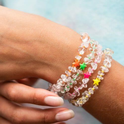 TINKALINK Crystal Healing Bracelets Clear Quartz Star Totem Orange Green Pink Yellows