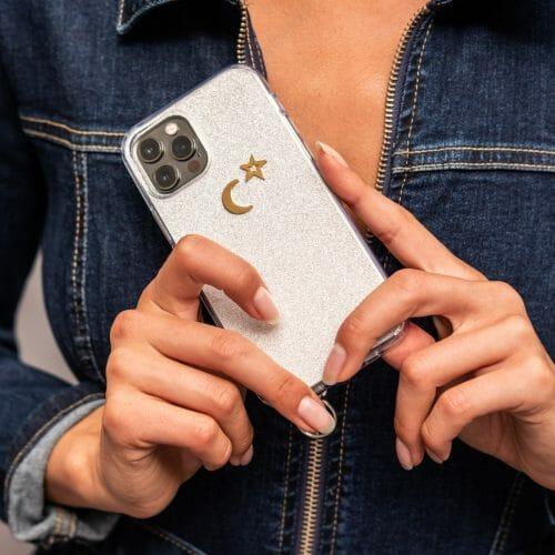 TINKALINK iPhone 12 Pro Case Talisman Silver Skin Moon Star Charm Gold