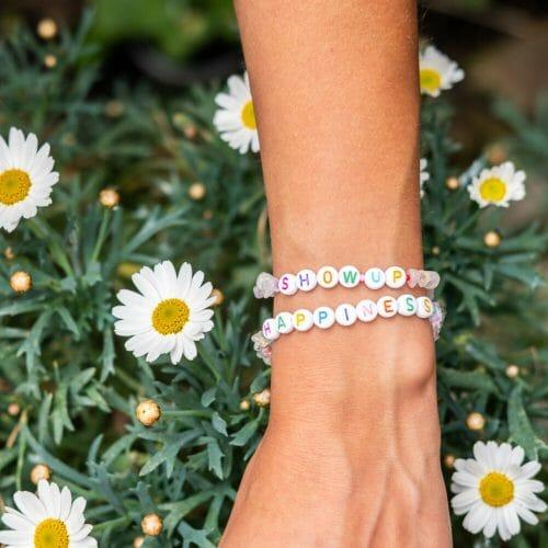 TINKALINK Crystal Healing Bracelet Clear Quartz Show Up Happiness