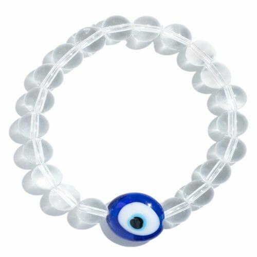TINKALINK Crystal Healing Bracelet Clear Quartz Evil Eye Charm