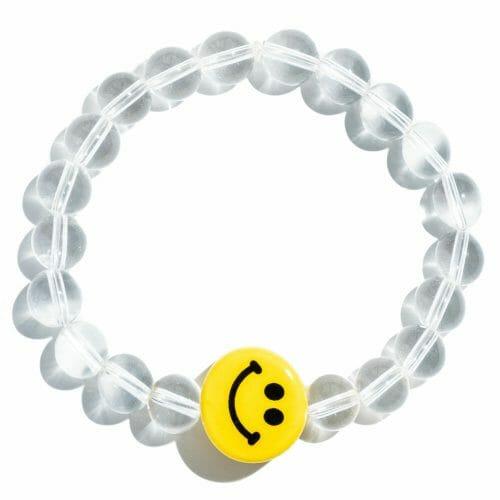 TINKALINK Crystal Healing Bracelet Clear Quartz Smiley Face Emoji