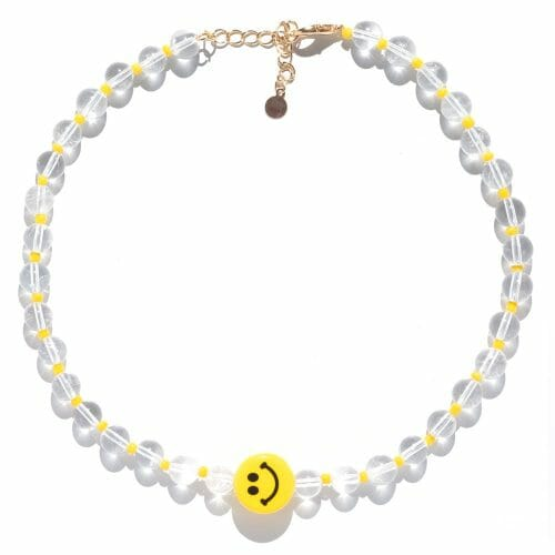 TINKALINK Crystal Healing Necklace Clear Quartz Smiley Face Charm