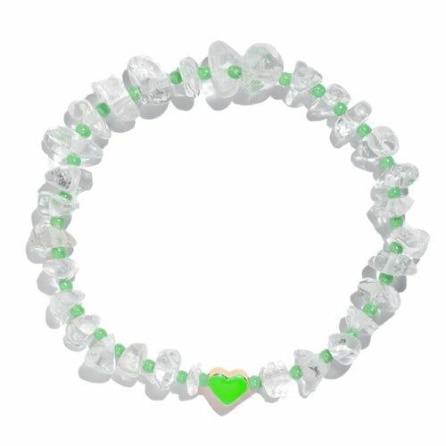 TINKALINK Crystal Healing Bracelet Clear Quartz Green Heart Totem