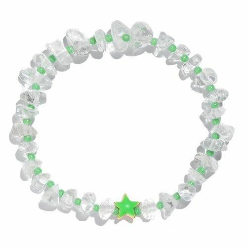 TINKALINK Crystal Healing Bracelet Clear Quartz Green Star Totem