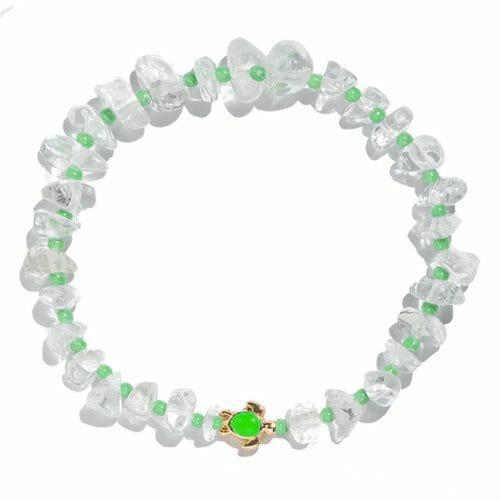 TINKALINK Crystal Healing Bracelet Clear Quartz Green Turtle Totem