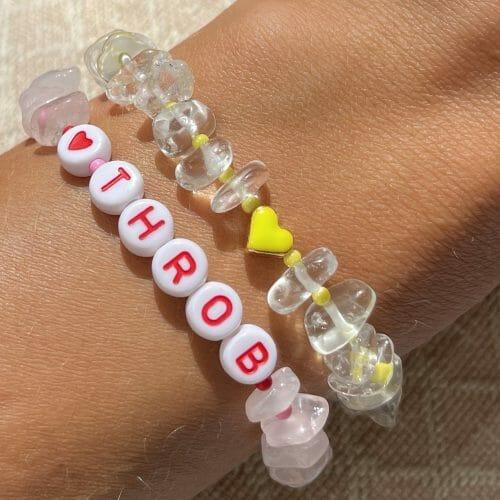 TINKALINK Crystal Healing Bracelets Clear Quartz Rose Quartz Yellow Heart Totem Heart Throb