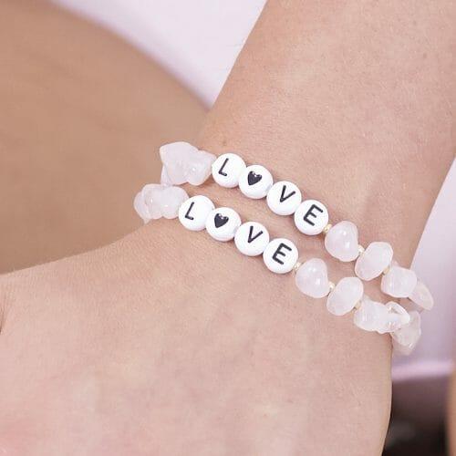 TINKALINK Crystal Healing Bracelets Rose Quartz Love