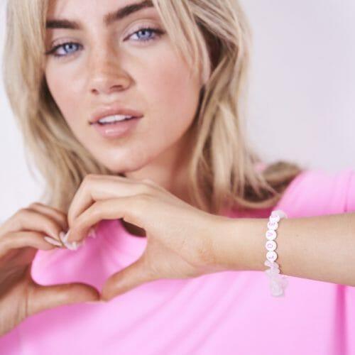 TINKALINK Crystal Healing Bracelet Rose Quartz Loved