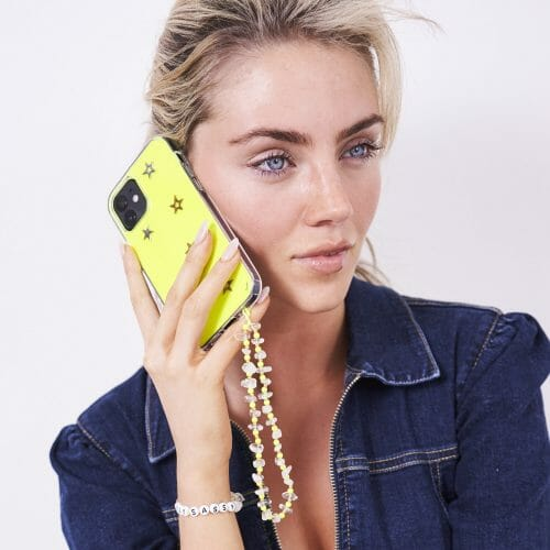 TINKALINK iphone 11 Pro case Neon Yellow Skin Star Charms Gold