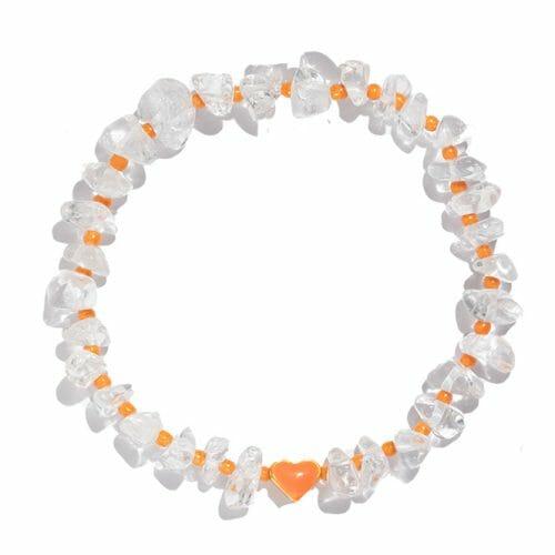 TINKALINK Crystal Healing Bracelet Clear Quartz Orange Heart Totem