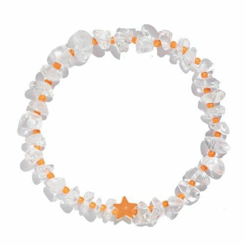 TINKALINK Crystal Healing Bracelet Clear Quartz Orange Star Totem