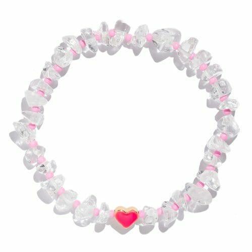 TINKALINK Crystal Healing Bracelet Clear Quartz Pink Heart Totem