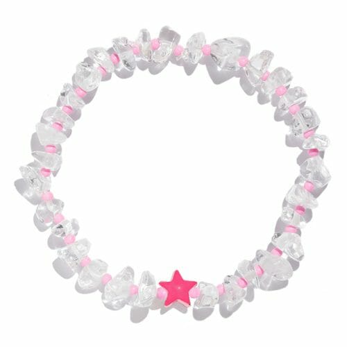 TINKALINK Crystal Healing Bracelet Clear Quartz Pink Star Totem