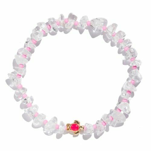 TINKALINK Crystal Healing Bracelet Clear Quartz Pink Turtle Totem