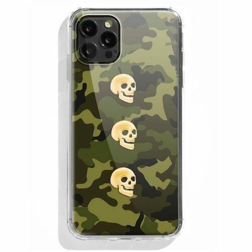 TINKALINK iPhone 12 Pro Case Talisman Green Camo Skin Skull Charms Gold