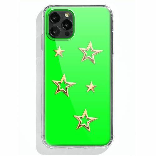 TINKALINK iPhone 12 Pro Plus Case Talisman Neon Green Skin Star Charms Gold