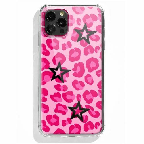 TINKALINK iPhone 12 Pro case Talisman Pink Leopard Print Skin Vinyl Black star Charms