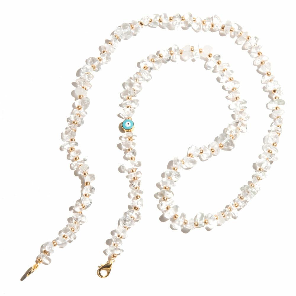 TINKALINK Crystal Healing Glasses Chains Clear Quartz Evil Eye Charm