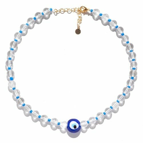 TINKALINK Crystal Healing Necklace Clear Quartz Evil Eye Charm