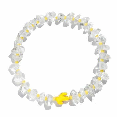 TINKALINK Crystal Healing Bracelet Clear Quartz Yellow Cactus Totem
