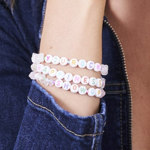 TINKALINK Crystal Healing Bracelets Clear Quartz You Rock Happiness Show Up