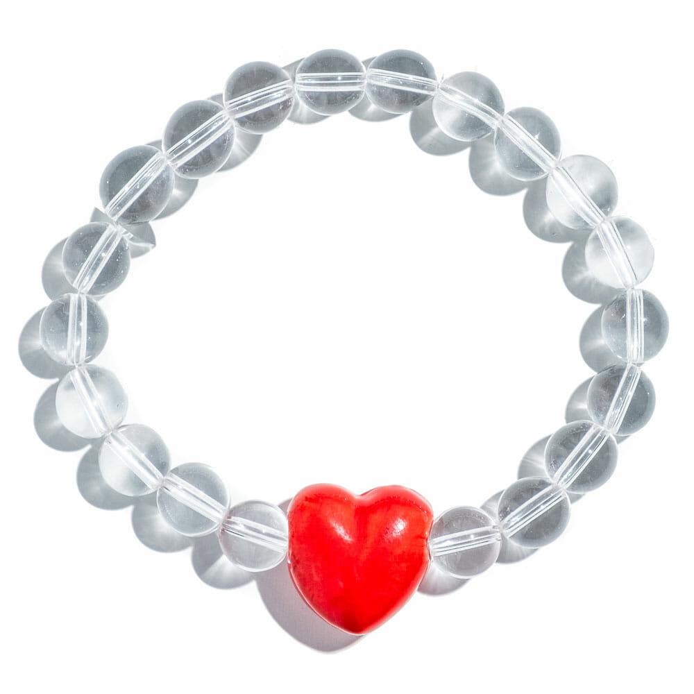 TINKALINK Crystal Healing Bracelet Clear Quartz Large Red Heart Charm