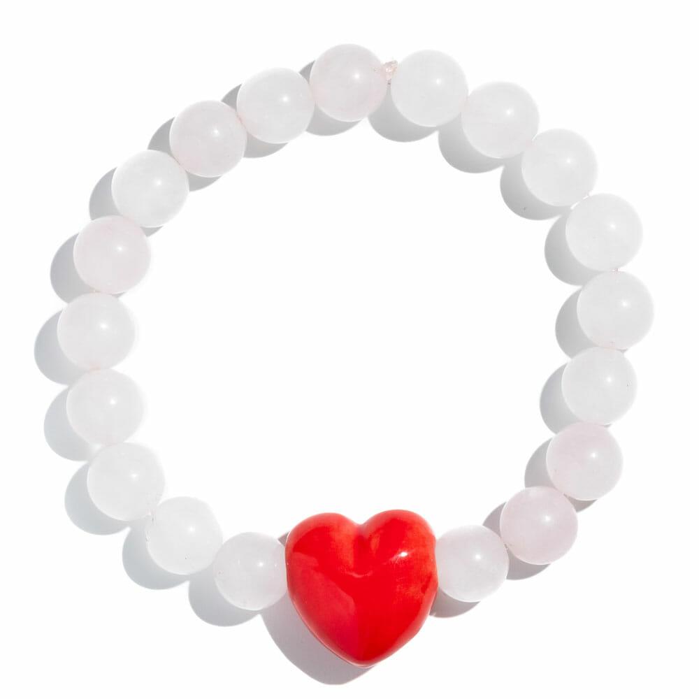 TINKALINK Crystal Healing Bracelet Rose Quartz Large Red Heart Charm