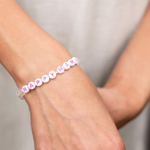 TINKALINK Crystal Healing Bracelet Rose Quartz Happy Mama