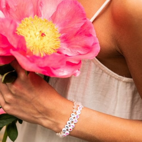 TINKALINK Crystal Healing Bracelets Personalised Create Customise Rose Quartz Loved Mama To Be