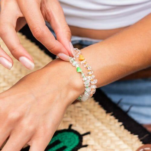 TINKALINK Crystal Healing Bracelet Clear Quartz Heart Totem Green Orange