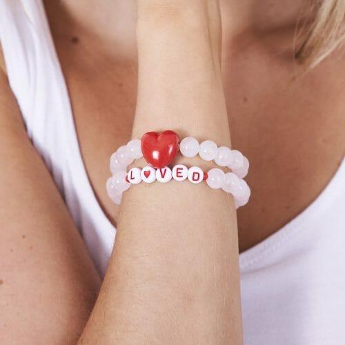 TINKALINK Crystal Healing Bracelet Rose Quartz Red Heart Loved