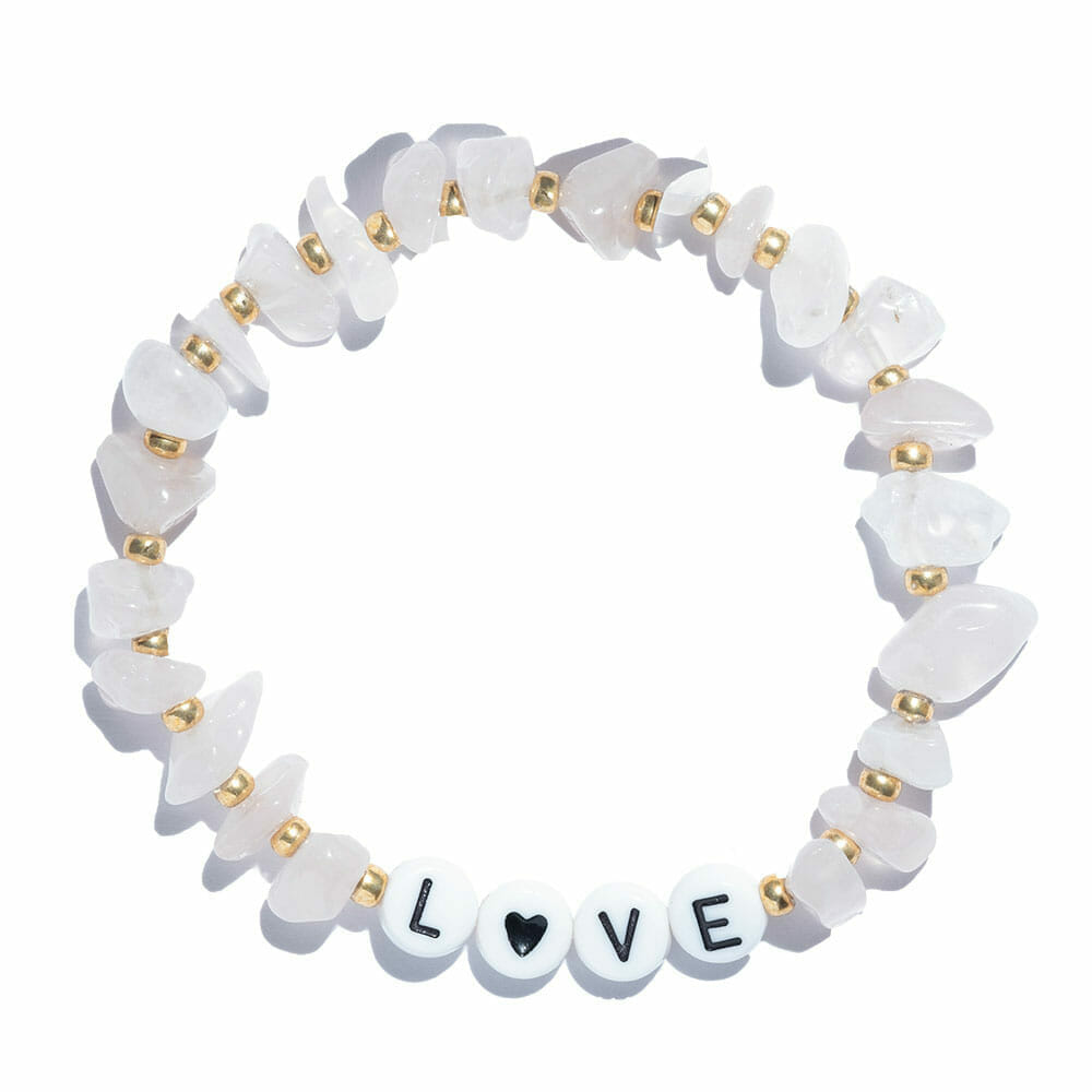 TINKALINK Crystal Healing Bracelet Rose Quartz Love