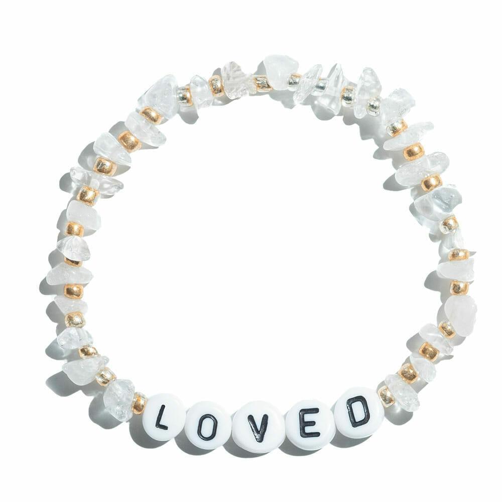 TINKALINK Crystal Healing Bracelet Clear Quartz Loved