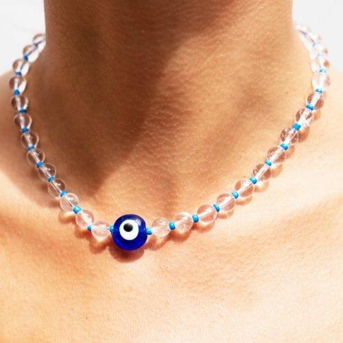 TINKALINK Crystal Healing Necklace Evil Eye