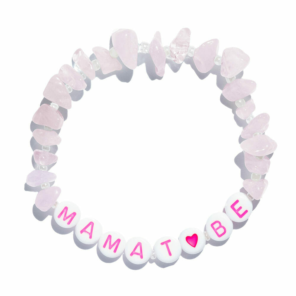 TINKALINK Crystal Healing Bracelet Rose Quartz Mama To Be