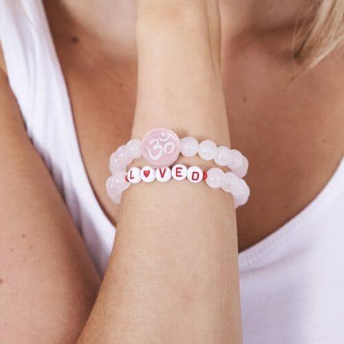 TINKALINK Crystals Healing Bracelet Rose Quartz Om Loved