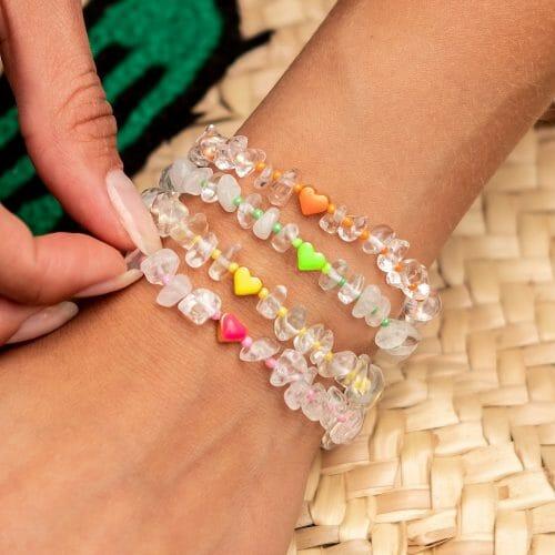 TINKALINK Crystal Healing Bracelet Clear Quartz Heart Totem Orange Green Yellow Pink