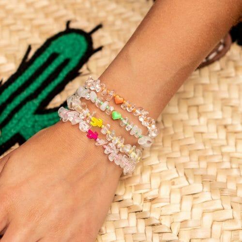TINKALINK Crystal Healing Bracelet Clear Quartz Heart Cactus Totem Orange Green Yellow Pink
