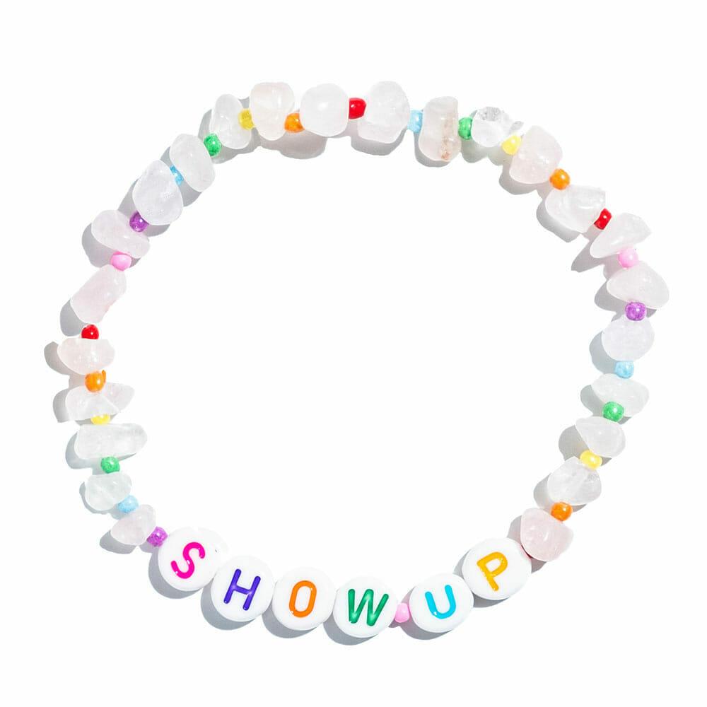 TINKALINK Crystal Healing Bracelet Rose Quartz Show Up